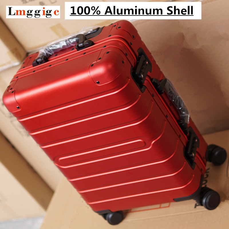 100% Aluminum Shell Suitcase, Rolling Luggage Bag, Metal material Travel Trolley Box, High quality Universal Wheel Case