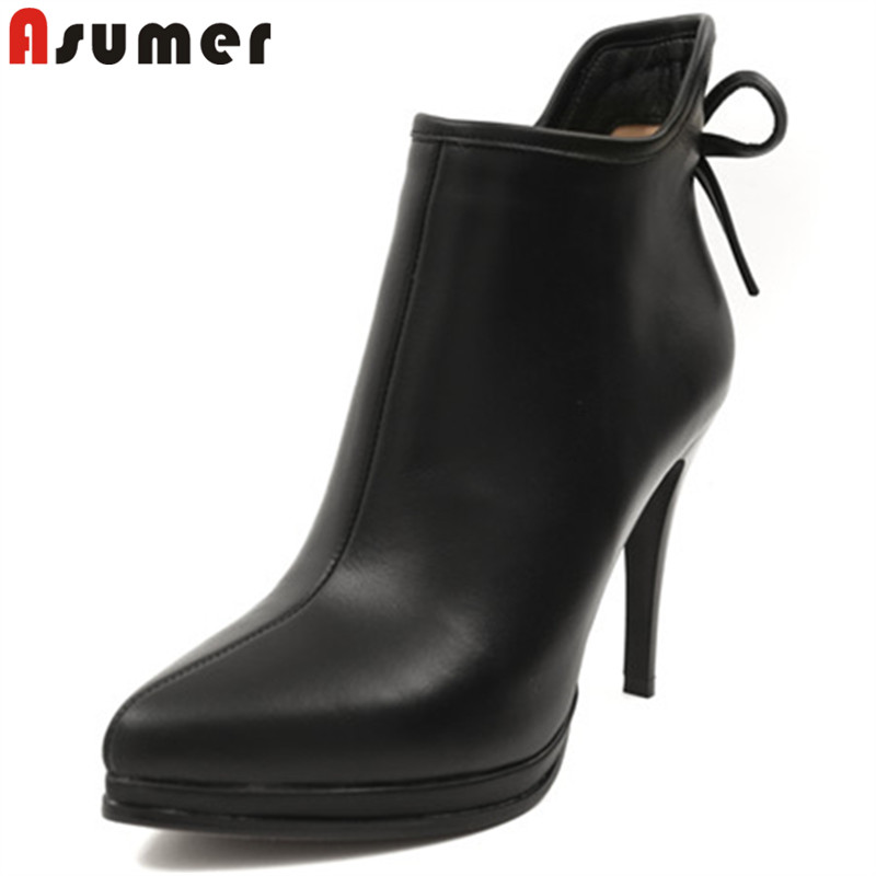 ASUMER 2018 fashion hot sale new boots women pointed toe zip autumn winter boots super high thin heels ankle boots for women ouqinvshen pointed toe thin heels women boots ladies super high heels ankle boots casual fashion butterfly knot women s boots
