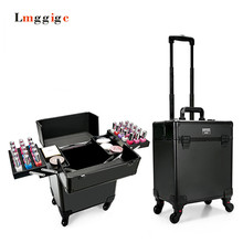 Multilayer Cosmetic Bags Trolley Makeup vanity Case Nail Care Beauty Box manicure Toolbox with Rolling Travel Luggage Suitcase
