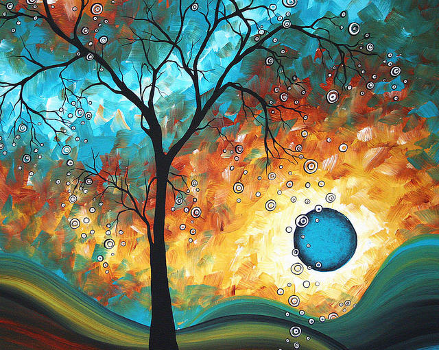 Colors Painting Modern Art Trees Aqua Burn Living Room Decoration High Quality Hand Painted