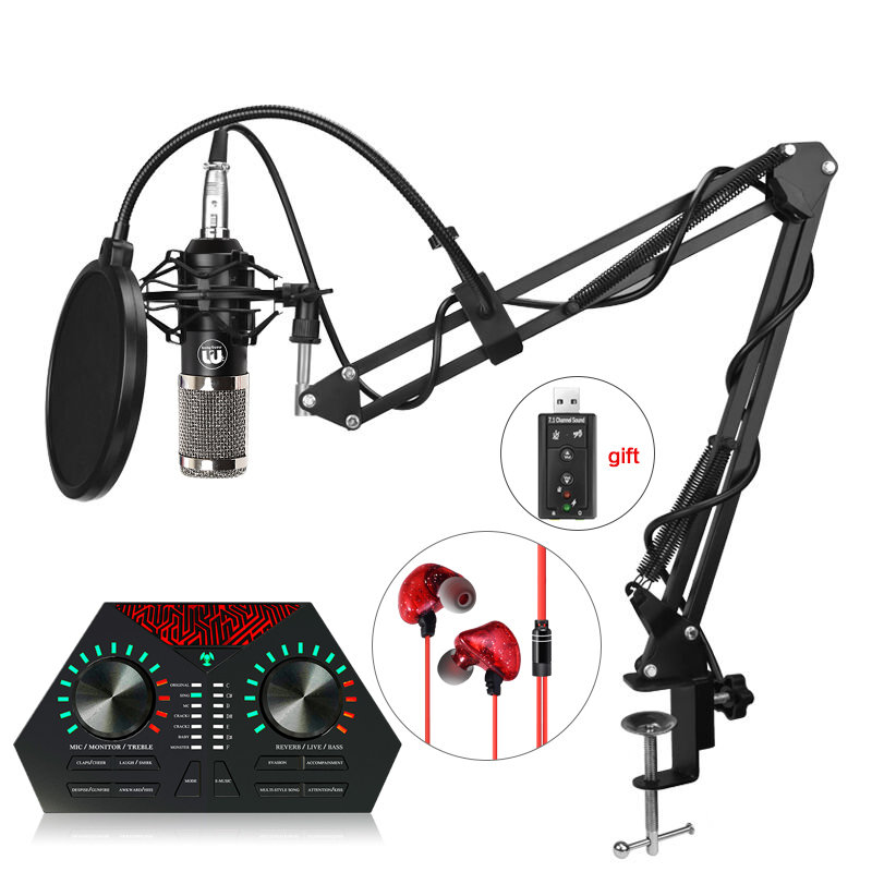Portable bm 800 Condenser Microphone Professional usb mic + Shock Mount + nb-35 mic stand + sound card Studio Microphone for PC portable bm 800 condenser microphone professional usb mic shock mount nb 35 mic stand sound card studio microphone for pc