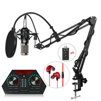 Portable bm 800 Condenser Microphone Professional usb mic + Shock Mount + nb 35 mic stand + sound card Studio Microphone for PC