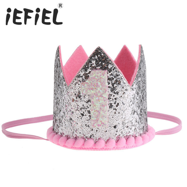 4aeafa7bba5 iEFiEL First Birthday Baby Girls Boys Party Hats Decor Cap One Birthday Hat  Princess Crown 1st