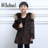 2017 Children Real Rabbit Fur Coat Winter Warm Thick Long Section Clothing Girls Boys Full Solid