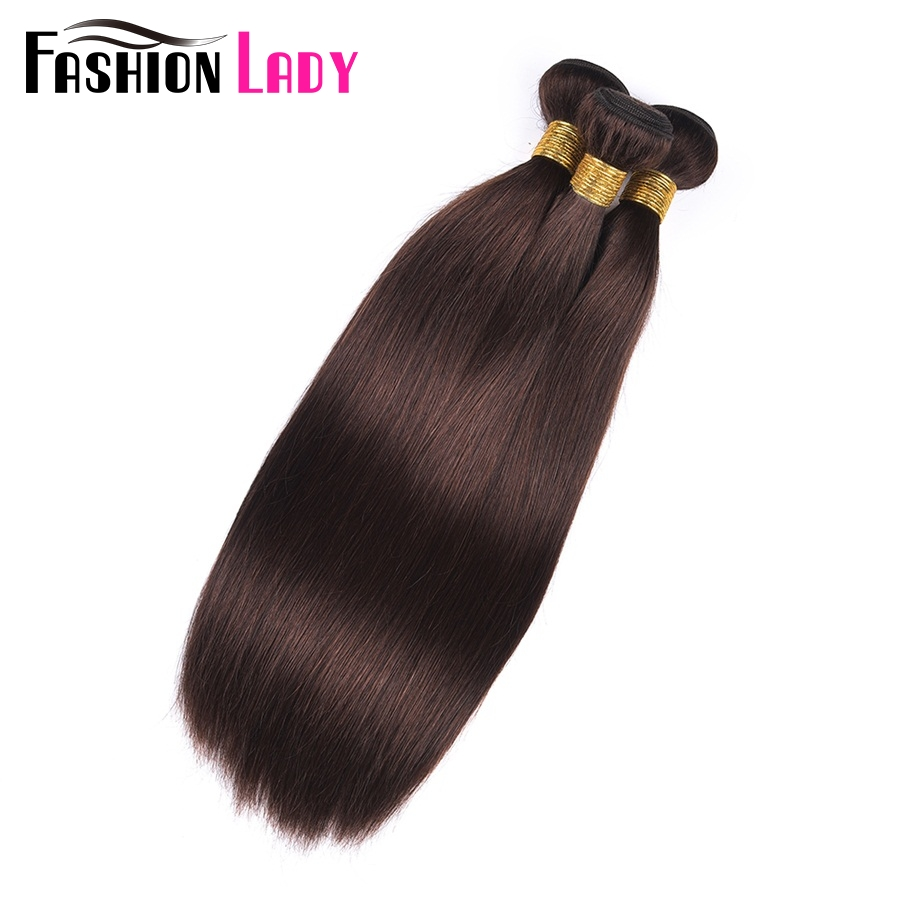 Image 4 - Fashion Lady Pre Colored Indian Human Hair Weave Straight Hair Bundles Dark Brown Color #2 3 Bundles Human Hair Bundles Non Remy-in Hair Weaves from Hair Extensions & Wigs