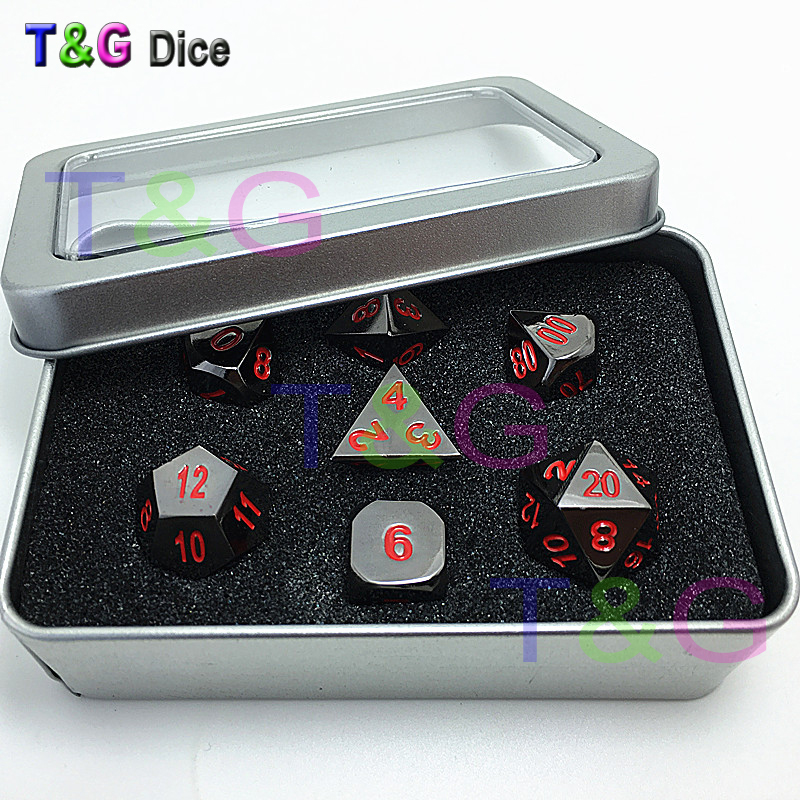 T&G HOT D4 D6 D8 D10 D% D12 D20 Metal Dice with Red Digital Plus Metal Boxes Fun Family Game Dice