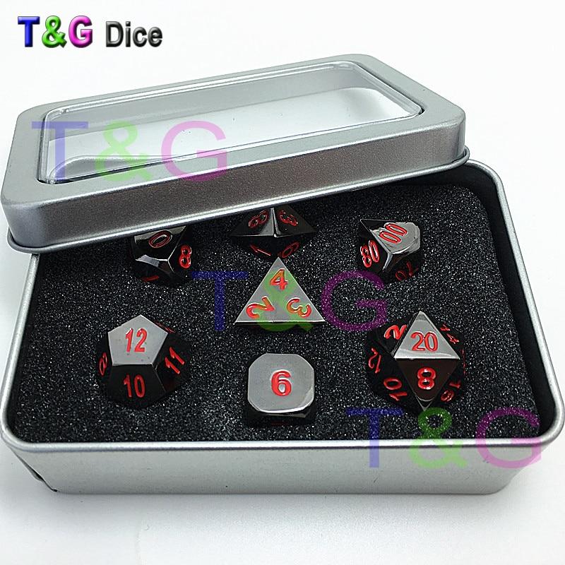 T&G HOT D4 D6 D8 D10 D% D12 D20 Metal Dice with Red Digital Plus Metal Boxes Fun Family  ...