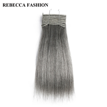 Rebecca Remy Brazilian Yaki Straight Human Hair Weave 1 bundle 10 Inch Black Grey Silver Colored Salon Hair Extensions 113g