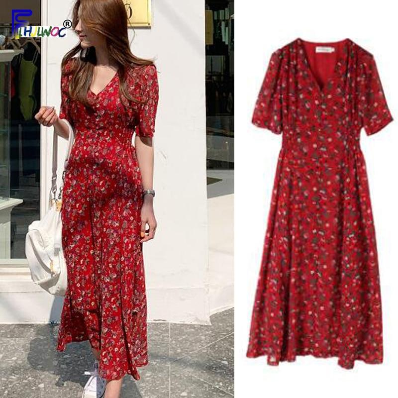 Vintage Dresses Red Hot Woman Fashion Korean Style Design Slim A Line Temperament Lady Chiffon Floral Print Dress Long 610