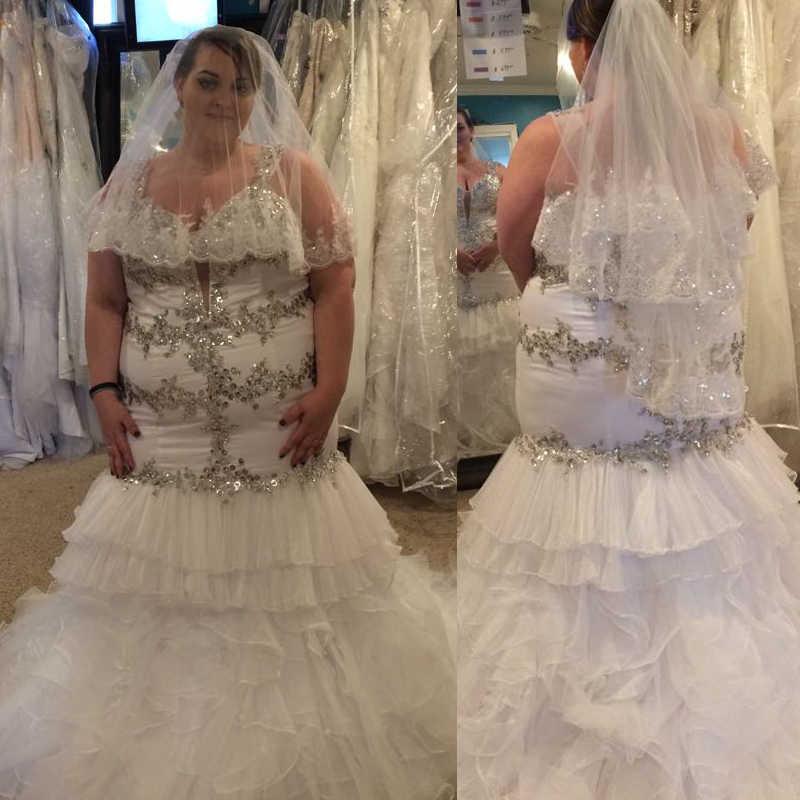 Luxury Crystal Plus Size Mermaid Wedding Dresses Bridal Gowns
