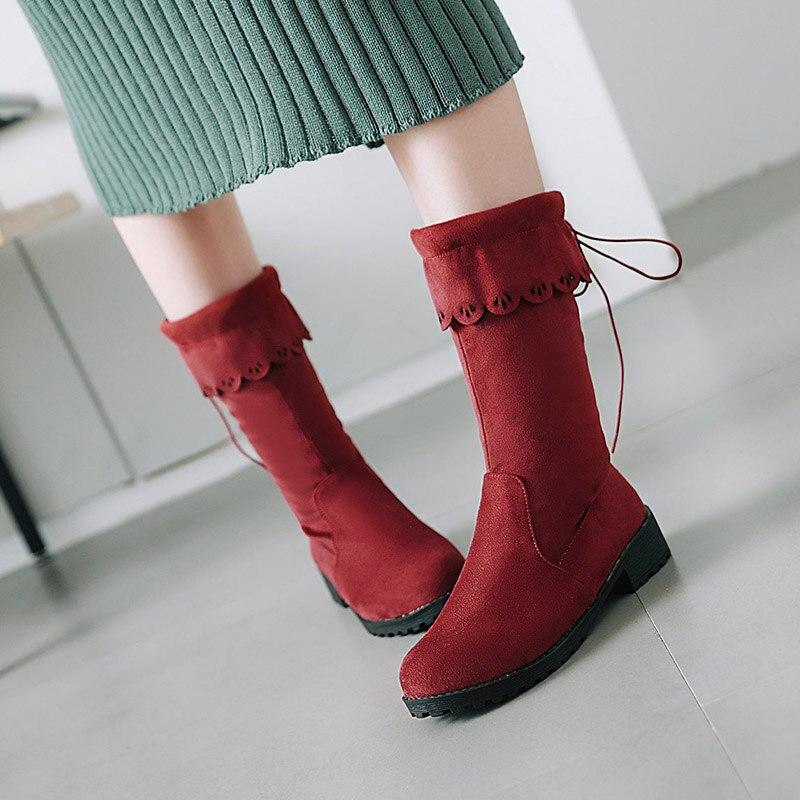 slip Chaussures Hiver Mode Talon Up Courte Rugueux Bottes Plus Botte Taille red mollet Mi Carré La brown Non Chaud Femmes Black Tigh Flhboya Dentelle gray En Peluche qHp6X