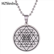 2018 New Spiritual Mystical Stainless Steel Pendant Sri Yantra Sacred Geometry Necklace Trendy Jewelry Gifts Men Women HZ7(China)