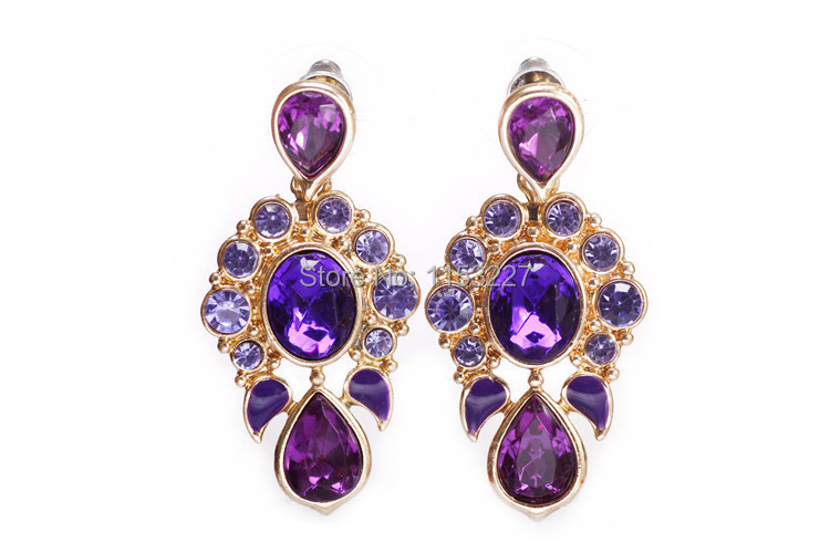 Online Free Shipping Purple Water Drop Crystal Earring Of Gold Brinco Cc Allied Express Jewelry Aliexpress Mobile