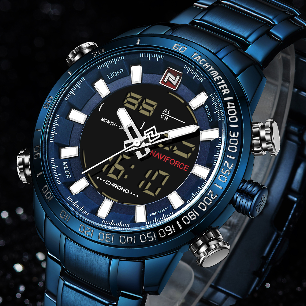 Top Brand Quartz Men Military Sport Watches Mens LED Analog Digital Watch Male Army Stainless Clock Relogio Masculino NAVIFORCE 1