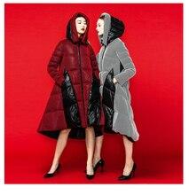 New 2015 Winter jacket Women Down and parkas 90% Duck down jackets Outwear grid patchwork hood long design women's down coat