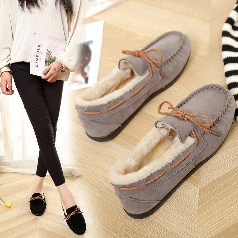 New Lace Up Autumn Winter Women Flats Simple Sewing Warm Fur Comfort Cotton Shoes Woman Loafers Sweet Single Shoes Size 35-40