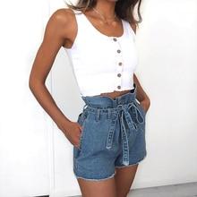 2019 Summer Sexy Jeans Shorts Women High Waist Denim Shorts with Belt Ladies Streetwear Hotpants Paper Bag Waist Denim Shorts