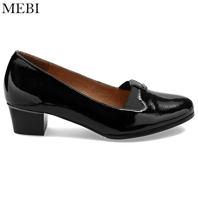 bfc52a994bd5 MEBI Full Grain Leather WW EW Extra Wide Shoes Woman Casual Pumps Moms  Grannies Slip On Cozy High Heels Plus Size Free Shipping