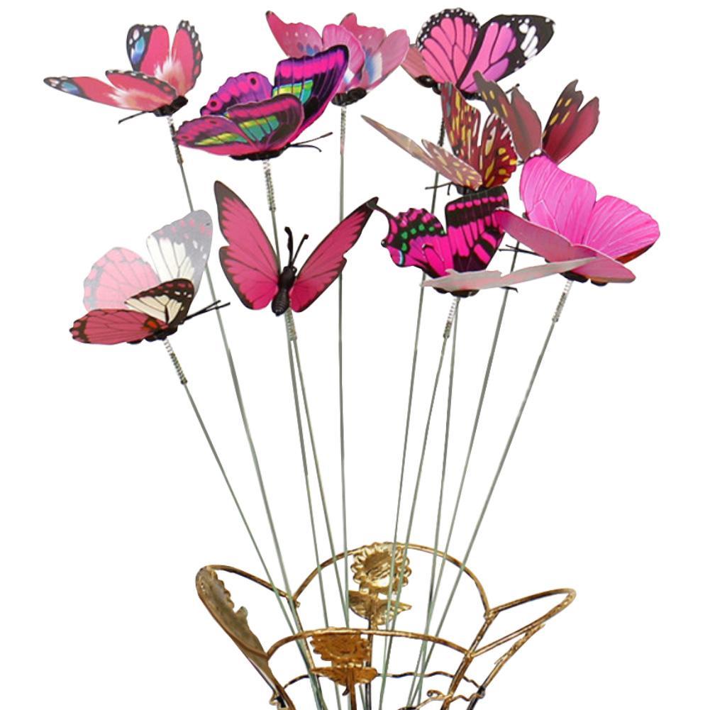 40# Hot Sale 10Pcs/Set Simulation Butterfly Stick Outdoor Garden Flower Pot Decor Ornament Gardening Supplies