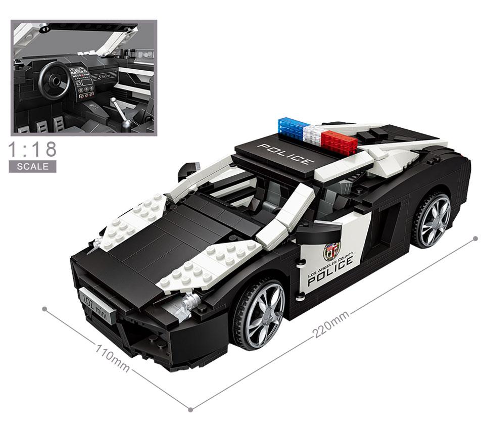 Mini blocs créateur ville Police course voiture diamant briques de construction jouets cadeau pour enfants Compatible Legoings Technic LOZ 1113