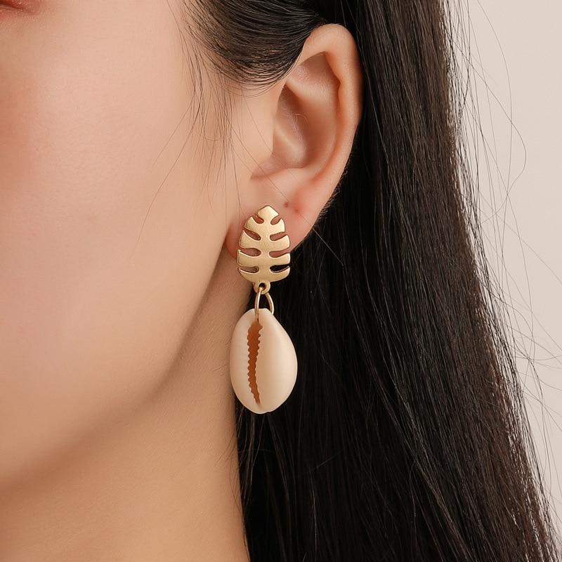 Fashion Shell Stud Earrings Women Fashion Jewelry Gold Silver Seashell Plant Leaf Earrings Jewellery Accessories Christmas Gift