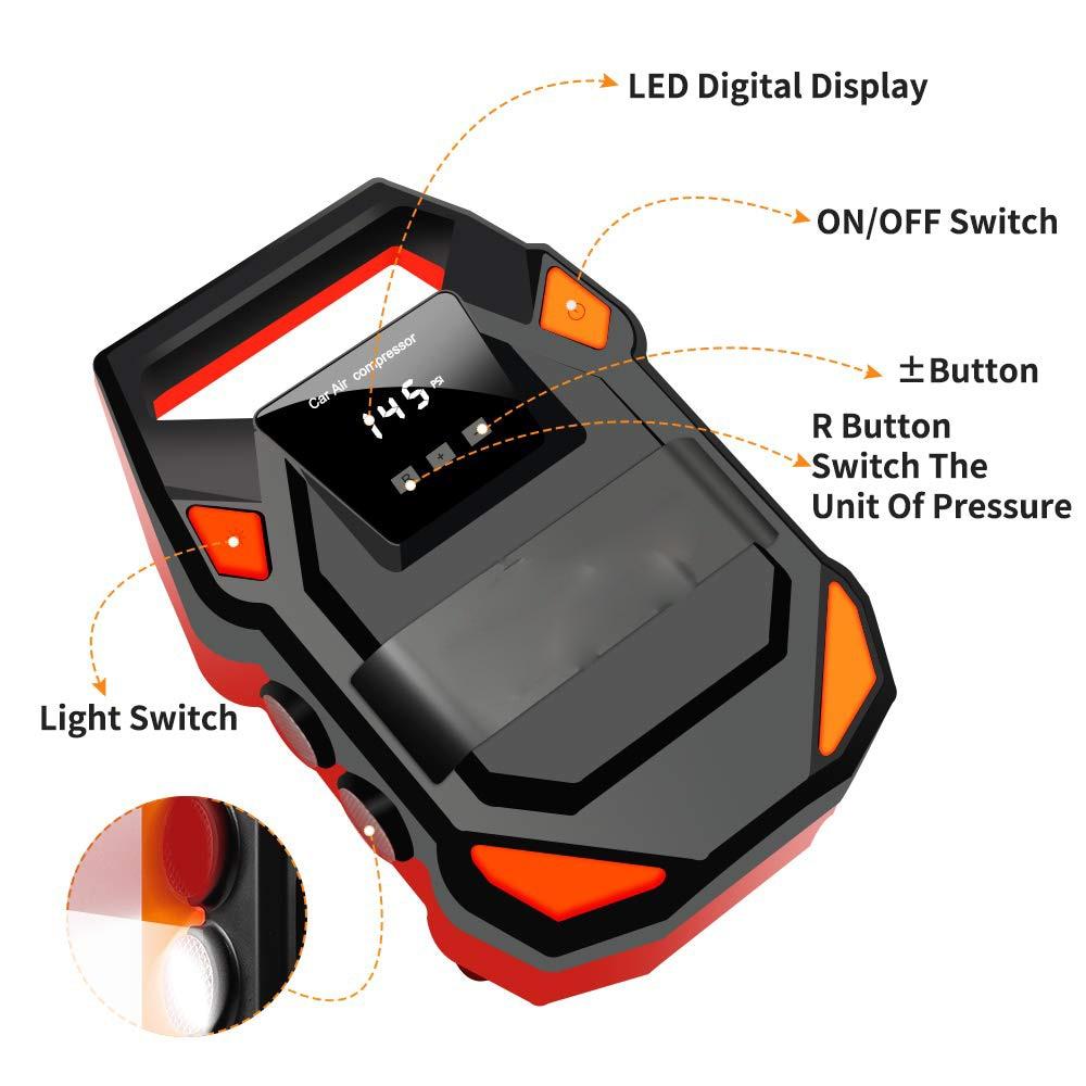 NEW HF DC 12V Digital Tire Inflator Car Portable Air Compressor Pump 150 PSI Car Air