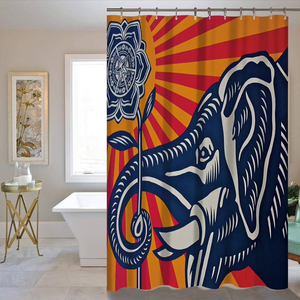 Elephant Waterproof Fabric Home Decor Shower Curtain Bathroom Mat 60X72inch/72X72inch Curtain Supplier Wholesale Price