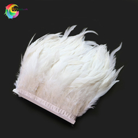 Wholesale elegant white rooster feather trims width 6 8 inches Chicken feather ribbon for Wedding Carnival Clothing Decoration