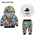 Newest Spring  Baby Boys Girls Clothing sets Cartoon  Casual Kids Hooded Coat+ t-shirt+Pants 3Pcs Newborn Clothes Suits