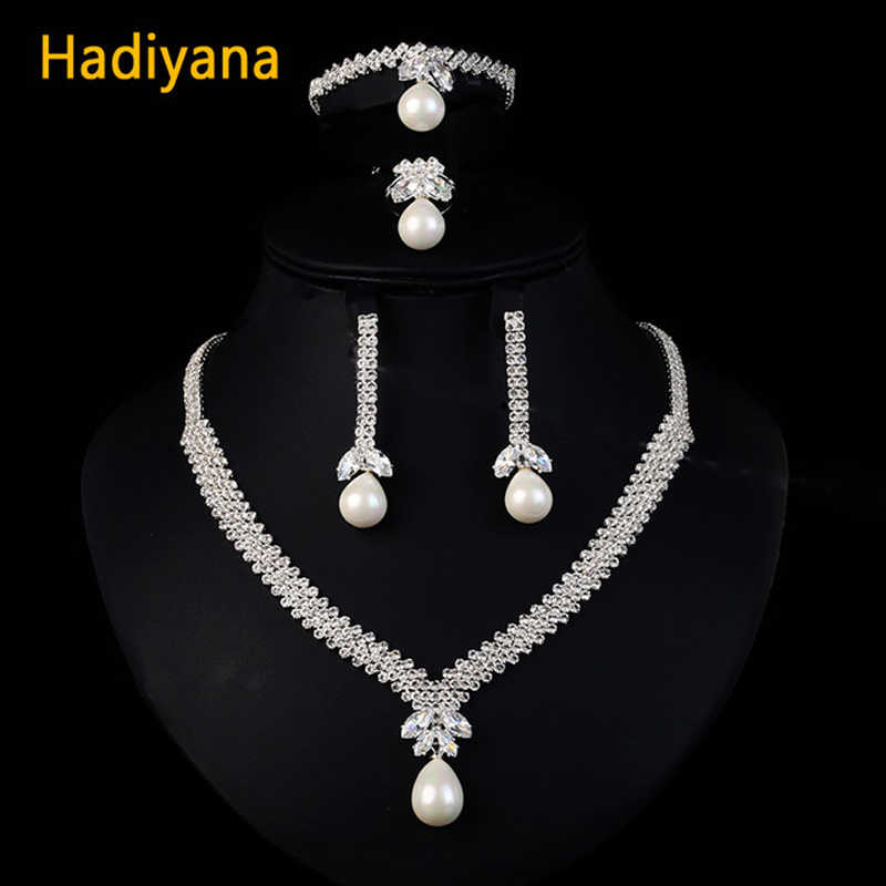 HADIYANA Pearl Drop jewelry sets for Weddings Trendy 4pcs Jewelry Setter With Sparkling Crystal Plating Color Guaranteed BN5510