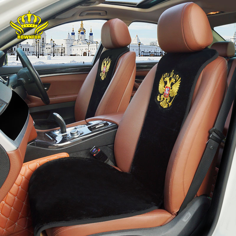 ROWNFUR Seat Cover Universal Fit Embroidery Plush-Fur Artificial All-Car