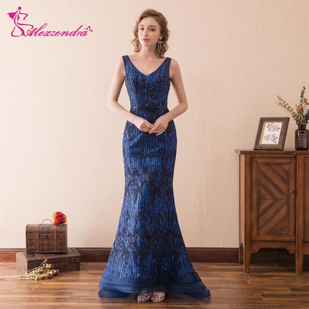 bdadf2d0dc22 Alexzendra lagerklänning Dubbel V Halsmermaid Blå Prom Klänningar ...