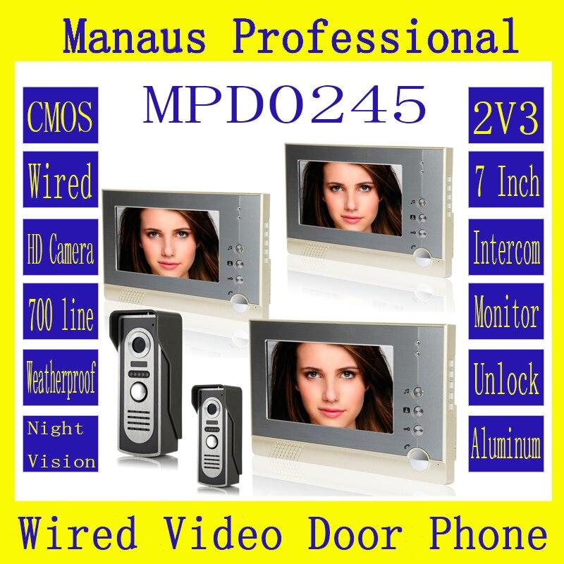 New Style Magnetic Lock Two to Three Video Doorphones Device 7 inch Screen Display Outdoor Video Door Intercom System Kit D245b
