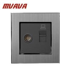 MVAVA TV + PC Socket  Luxury 110-250V Brushed Metal UK EU Standard Television and Data RJ45 Lan Cable Jack Wall