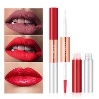 6 цветов 2 в 1 матовый и яркий блеск для губ увлажняющий стойкий макияж Жидкая стойкая помада