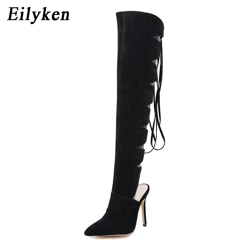 Eilyken Autumn Womens Over The Knee Thigh High Lace-Up Boots Pointed Toe Cross-tied Women Motorcycle Boots Black Size 35-40Eilyken Autumn Womens Over The Knee Thigh High Lace-Up Boots Pointed Toe Cross-tied Women Motorcycle Boots Black Size 35-40