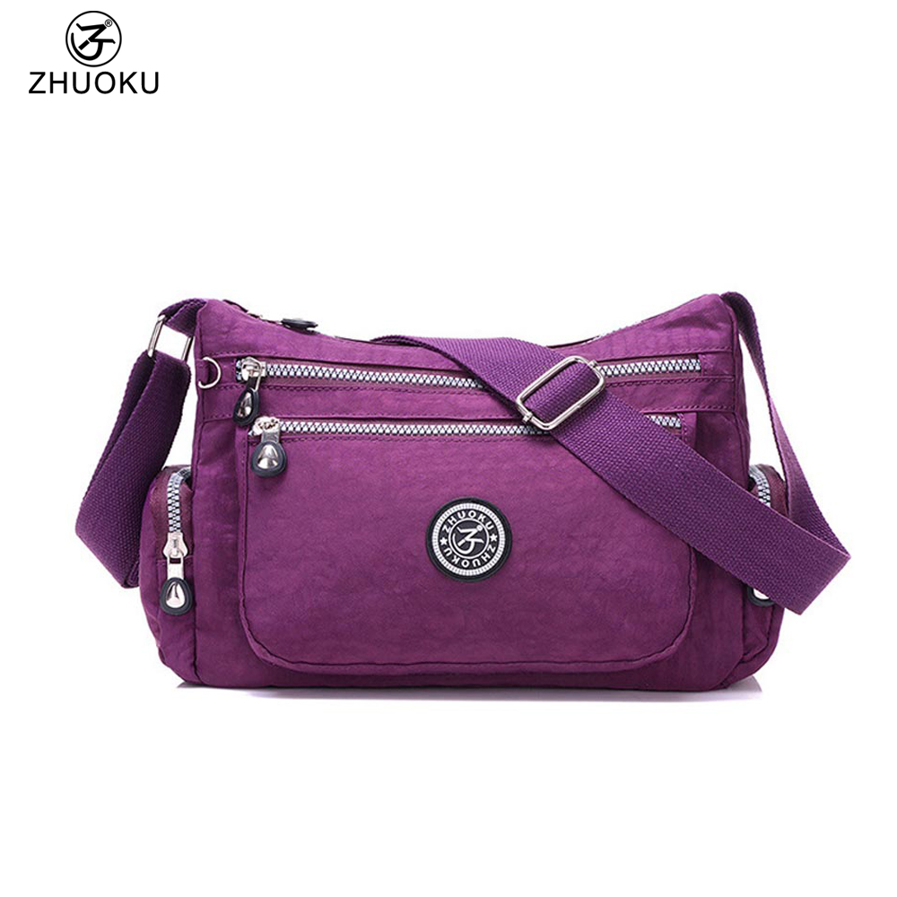 ZHUOKU Women Messenger Bags for Women Travel Waterproof Nylon Handbag Female Shoulder Bag Ladies Crossbody Bags 28x20x11cm B039 women s messenger bags ladies nylon handbag travel casual bag shoulder female high quality large capacity crossbody bags