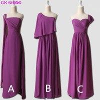 CX SHINE Chiffon 3 Style Long Bridesmaid Dresses Custom Colors Mix Cheap Wedding Prom Dress Party