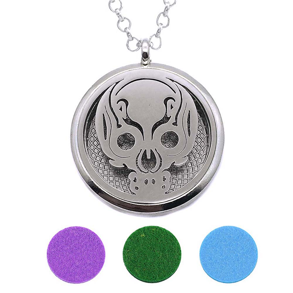 With Snake Chain 225 New arrival 30mm Perfume Essential Oils Diffuser Locket Necklace With 3 Pads Women Teenagers Gift