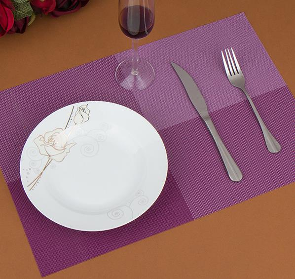 Botique 4pcs Placemats Vintage PVC Insulation Plaid Dining Table Mats coaster bowl pad insulation pad purple