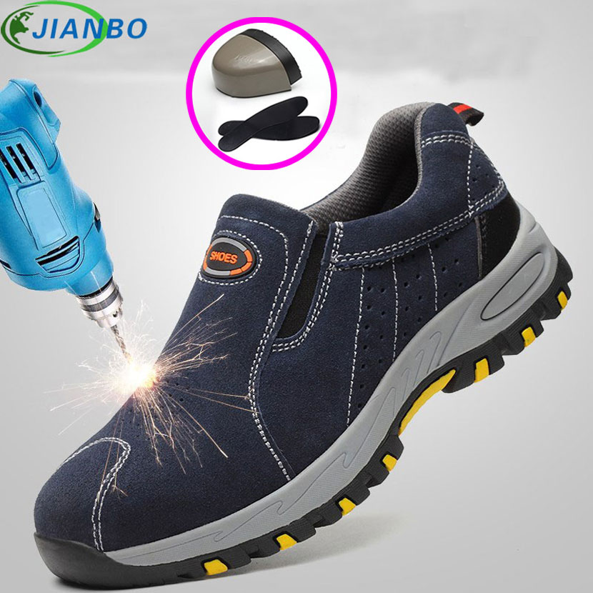 Steel Toe Safety Work Shoes Men 2018 Fashion Summer Breathable Sneakers Men Casual Boots Leather Labor Insurance Protective Shoe