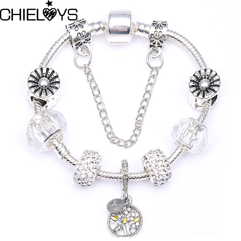 CHIELOYS Fashion Charm Beads bracelet Silver Colour Snake Chain And Murano Crytals Beads Pandora Bracelet For Women Nice Gift