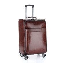 Bolsas de equipaje de los hombres casual de negocios trolley chasis bordo maleta lanzador 20 24 pulgadas piel aceite lockbox rolling trolley de viaje bolsa