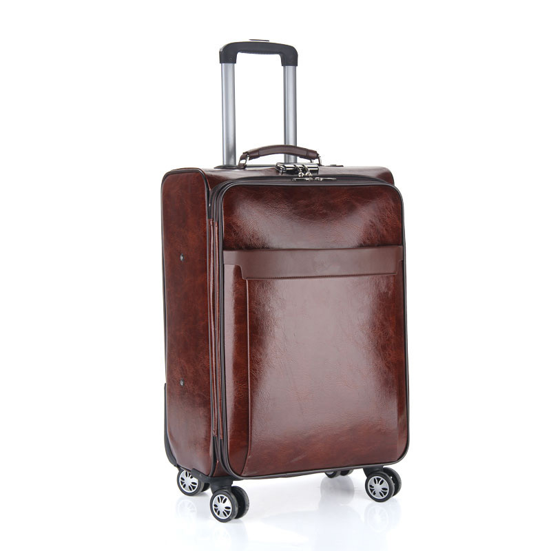Business casual travel luggage Bags men's board chassis suitcase caster 20 24 inch trolley oil skin lockbox rolling trolley bag стоимость