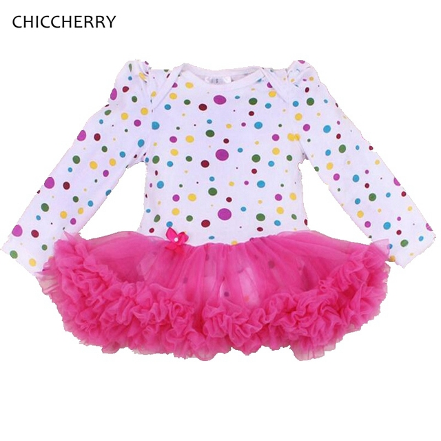 Invierno Ropa de Bebé Niña Recién Nacido Rosa y Púrpura Del Cordón Del Partido vestido de Algodón Polka Dots Toddler Romper Tutu Vestidos de Año Nuevo traje