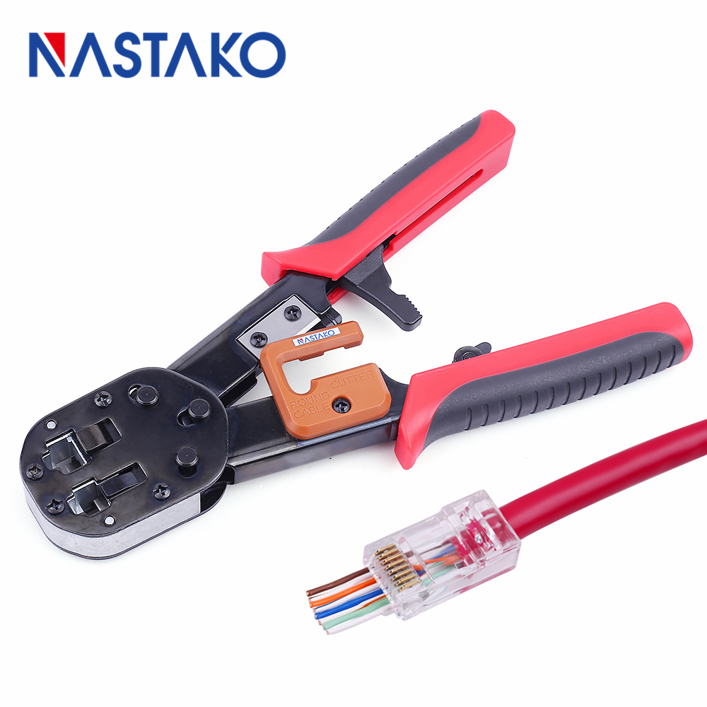 NASTAKO Network tools RJ11 ez RJ45 Pliers crimper Ethernet Cat5 Cat6 Connector Crimping Network telephone Cable Stripper cutter