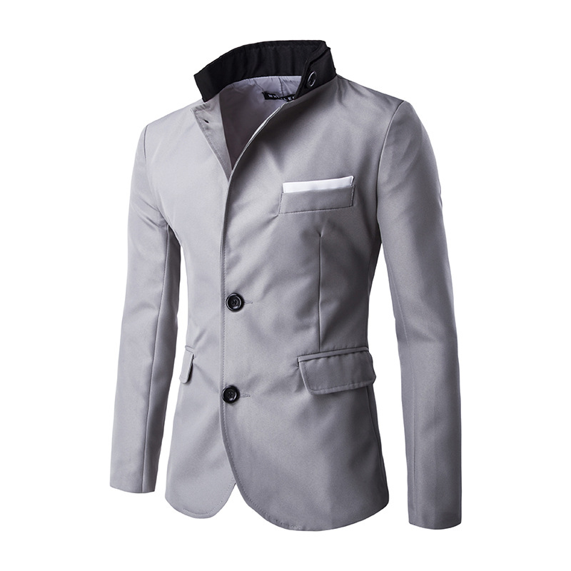 New winter man personality collar color matching single row two grain of buckle suits party dresses