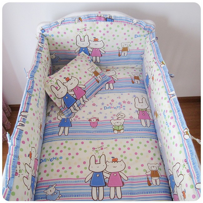Promotion! 6PCS Cute Animal Crib Bedding Set Soft Baby Sheet Bumpers,Comfortable Baby Bedding Set (bumper+sheet+pillow cover)