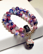 Lucky Cat Natural Stone Bracelet