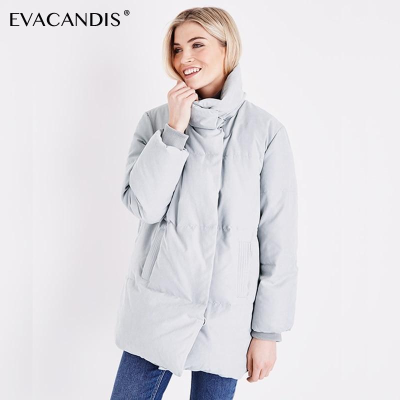Stand Collar Long Thick   Down     Coat   Grey Duck   Down   Warm Overcoat Snow Jacket Windproof Women Outwear Winter 2018